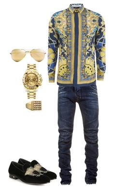 """Playa playa"" by kakestylezone on Polyvore featuring Balmain, Versace, Rolex, Ray-Ban, mens, men, men's wear, mens wear, male and mens clothing"