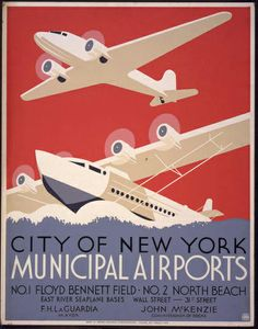 new york, travel, vintage, vintage posters, retro prints, classic posters, free download, graphic design, City of New York Municipal Airports - Vintage New York Travel Poster