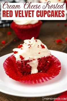 "These Red Velvet Cupcakes are moist and creamy cupcakes made with ""from scratch"" cream cheese frosting and filled with sweet marshmallow cream. #valentineday #creamcheese #frosting #creamfilling #redvelvet #dessert #easydesserts Cream Filled Cupcakes, Cupcake Cream, Cupcakes With Cream Cheese Frosting, Yummy Cupcakes, Mocha Cupcakes, Gourmet Cupcakes, Strawberry Cupcakes, Easter Cupcakes, Flower Cupcakes"