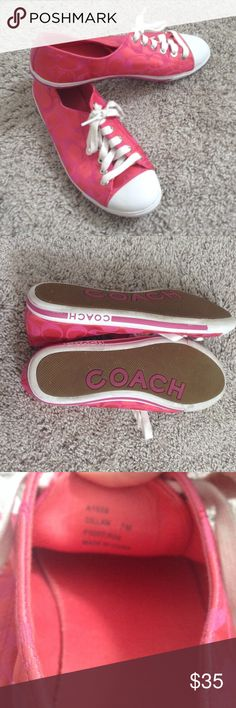"""Coach Signature C Pink Dillan Sneakers 7 7M Authentic Coach """"Dillan"""" sneakers. Pink and white. Some sole wear (see photos) but overall in great preowned condition for used shoes. Size 7M. Coach Shoes Sneakers"""