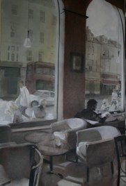 Hove Café III by Sam Hewitt - oil on canvas Oil On Canvas, Artist, Painting, Artists, Painting Art, Paintings, Painted Canvas, Drawings
