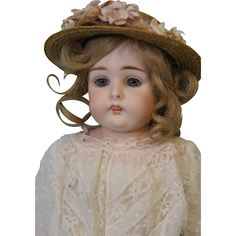 16 inch Antique German Bisque Kestner doll Blue eyes Open Closed Mouth from turnofthecenturyantiques on Ruby Lane