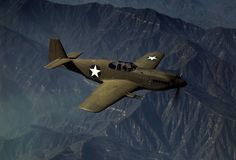 """P-51 """"Mustang"""" fighter in flight, Inglewood, California, The Mustang, built by North American Aviation, Incorporated, is the only American-built fighter used by the Royal Air Force of Great Britain. Photo taken in October, 1942."""