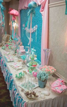 Vintage mermaid Baby Shower Party Ideas | Photo 9 of 46 | Catch My Party
