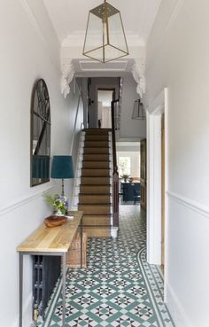 Hallway Decorating 337699672057630483 - Traditional Victorian home in the UK with interior design by Beth Dadson of Imperfect Interiors. Come see more Timeless and Tranquil Blues in a Victorian Home. Source by hadleycourt Tiled Hallway, Hallway Flooring, Grey Hallway, Modern Hallway, Modern Stairs, Mirrors On Stairs, Black And White Hallway, Tiled Staircase, Hallway Mirror