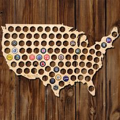 Beer Cap Map of USA - Made of Beautiful Birch Wood! - Beer Cap Art #Christmas #Christmas2015 #Xmas #Xmas2015 #XmasShopping