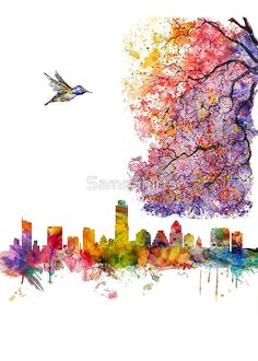 """""""Austin Texas Skyline"""" Posters by SamsShirts 