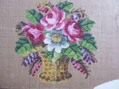 A Basket Of Flowers Berlin WoolWork Pattern Produced In Berlin