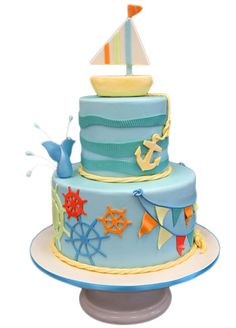 Nautical Themed Birthday Cake for Craftsy.com