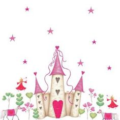 RoomMates YH1328M Princess Castle Peel & Stick Giant Wall Decal, (wall stickers, princess, childrens rooms, fairytale, fantasy, wall decor)