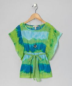 Take a look at this Turquoise & Lime Tie-Dye Top by Speechless on #zulily today!