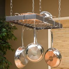 I always love a pot rack. Saves space and seems to make a kitchen a kitchen.