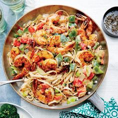 Classic Cajun flavors--the smoky, spicy seasoning; sweet shrimp; and onion, green bell pepper, and celery trinity--give this pasta toss a New Orleans vibe. A jolt of ground red pepper spices things up nicely, while creamy half-and-half smooths out the edges.