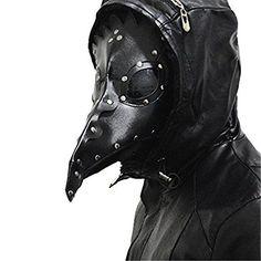 Kangkang@ Dr. Beulenpest Steampunk Plague Doctor Mask Beak Masks Steampunk Black PU Birds Halloween Art cosplay Carnaval Costume men (Black)