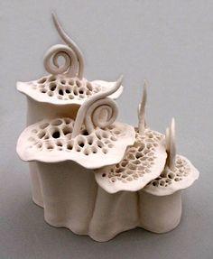 Floral Lantern  Elizabeth Shriver,   Hand-built stoneware