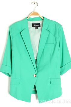 Green 3/4 Sleeves Outerwear