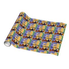 Carousel Horse Folk Art Birthday Gift Wrap #carousel #horses #birthday #giftwrap And www.zazzle.com/tickleyourfunnybone*