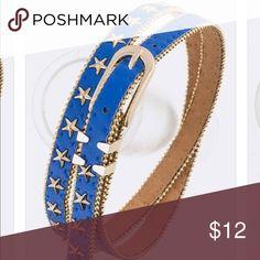 Bright Royal Blue Gold Stud Star Dress Jean Belt Bright Royal Blue Gold Studded Star Dress Jean Belt Accessories Belts