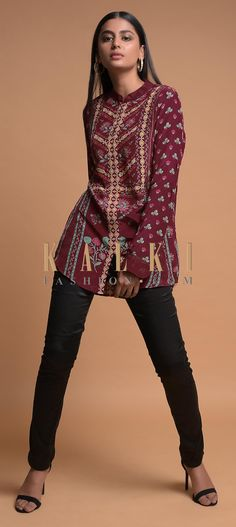 Buy Online from the link below. We ship worldwide (Free Shipping over US$100)  Click Anywhere to Tag Wine Short Kurti In Crepe With Floral And Geometric Print Online - Kalki Fashion Wine short kurti in crepe adorned with floral and geometric print.Crafted with mandarin collar, front placket and full sleeves.