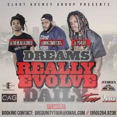 The D.reams R.eally E.volve D.aily Tour kicks off this weekend. #CloutAgencyGroup @TheRealLilDred @mikesmiff305 @yd4life  #TeamDred #LaborDayWeekend #DadeCounty #305 #IamLibertyCity...