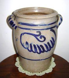 Antique German Colbalt Blue Salt Glazed Crock