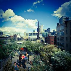 Rooftop garden at 401 Richmond in Toronto. It's open to the public at no cost, and features an on-site cafe, free wireless Internet, and a fantastic view of the city.