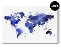 Canvasprint Mapamundi Deep, blauw/wit, 60 x 90 cm
