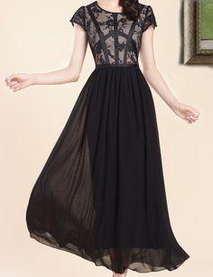 Grace Black Lace Maxi Dress Chiffon Dress Formal Dress Wedding Dress Party Dress Prom Size S/M/L/XL/XXL