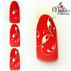 Swirl Nail Art, Red Nail Art, Fall Nail Art, Nail Art Diy, Diy Nails, Nail Polish Designs, Nail Art Designs, Nail Patterns, Nail Envy