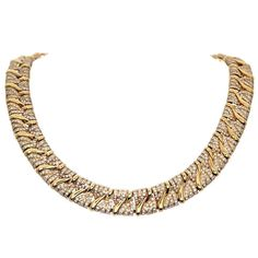 BULGARI Diamond & Yellow Gold Collar Necklace | From a unique collection of vintage choker necklaces at http://www.1stdibs.com/jewelry/necklaces/choker-necklaces/