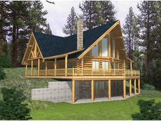 modified a frame house plans | Blackhawk Ridge Log Home Plan 088D-0037 | House Plans and More