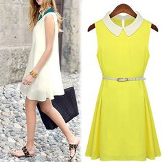 With Belt! New Fashion Plus Size Women Loose Vestidos Chiffon Casual Dresses Patchwork Shirt Collar Sleeveless Office Party 9348