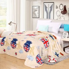 Home Textile British Blankets Soft and Warm Coral Fleece Velvet Plaid Blanket Bed Sheet Throw on Bedding Twin Full Queen King Price: USD 21.85 | United States
