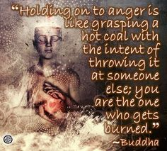 """""""Holding on to anger is like grasping a hot coal with the intent of throwing it at someone else; you are the one who gets burned."""" --Buddha"""