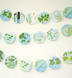 Botanical Bunting Plants Banner Eco-friendly by PeonyandThistle