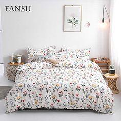 Gaveno Cavailia Parure de lit avec Housse de Couette et taie doreiller Motifs rectangulaires Simple Blanc Coton