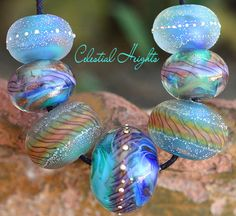 Celestial Heights Rounds (7) Lampwork Beads Handmade with Fine Silver SRA A15
