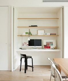 Office - Study Built Inside Cupboard - recessing doors - maybe in space between living/sleeping zones