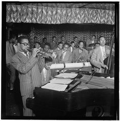 Portrait of Dizzy Gillespie, John Lewis, Cecil Payne, Miles Davis, and Ray Brown, Downbeat, New York, N.Y., between 1946 and 1948