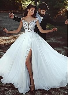Buy discount Graceful Tulle & Chiffon Jewel Neckline A-line Wedding Dress With L. , Buy discount Graceful Tulle & Chiffon Jewel Neckline A-line Wedding Dress With L. Wedding Dress Chiffon, Muslim Wedding Dresses, Perfect Wedding Dress, Dream Wedding Dresses, Lace Dress, Lace Wedding, Lace Chiffon, Wedding Gowns, Chiffon Dresses