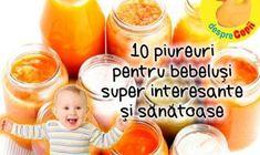 Piureurile pentru bebelusi - facute in casa - sunt cea mai sanatoasa papica pe care o putem oferi bebelusului. Ingrijorarea crescanda referitoare la alimentele pe  care le dam bebelusuilor nostri ne face sa ne gandim de doua ori inainte  de a cumpara borcanele cu mancare pentru bebelusi. Pentru a veni in ajutorul mamicilor, ne-am pus pe treaba si am adunat cele mai bune 10 retete de mancare piure Healthy Diet Recipes, Baby Food Recipes, Baby First Foods, Meals For One, Kids And Parenting, Baby Kids, Pregnancy, Homemade, Cookies