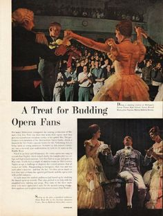 1962 OPERA FANS vintage magazine article ~ A Treat for Budding Opera Fans ~ During a standing ovation at Michigan's Grosse Pointe High School, Senior Ronald Burns gives Soprano Marcia Baldwin flowers. - For many Midwestern youngsters the touring ...