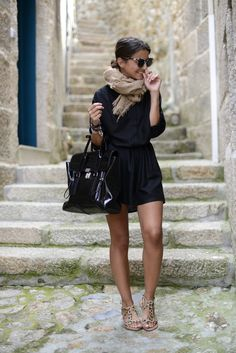 Black shirt dress, taupe scarf, black phillip lim pashli satchel, leopard sandals