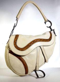 0014cdcd931b2d CHRISTIAN DIOR SADDLEBAG Biege & Brown Leather Southwestern Handbag *LOVELY*