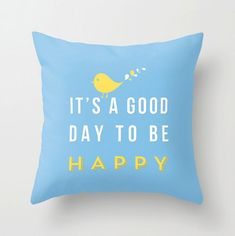 Happy pillow - Decorative throw pillows grey yellow white pillow cover home decor ornament and decoration housewares via Etsy