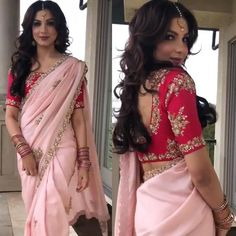 Light pink sari with red Embroidery Blouse prefect attire for any function or party saree blouse combo Set Stylish Blouse Design, Fancy Blouse Designs, Latest Saree Blouse Designs, Lehenga Choli, Red Lehenga, Red Sari, Net Saree, Red Blouse Saree, Anarkali