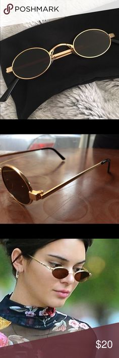 Tiny trendy sunglasses As per trend of 2018. Golden frame and black glasses. Very chic. Brand new! Accessories Sunglasses