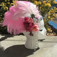 Made to Order Ostrich Feather 12 inch long (big Ostrich Feather) silk flowers and drop crystal Only one Please allow 2 weeks for creation. 3 – 5