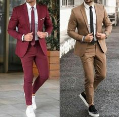 Burgundy Men Suits For Wedding 2019 Notched Lapel Slim Fit Groom Tuxedos Prom / Business Suit (Jacket+Pants+Tie) Groomsmen Suits, Men's Suits, Groom Attire, Mens Fashion Wear, Suit Fashion, Black Tie Attire, Burgundy Suit, Suits And Sneakers, Blazer Outfits Men
