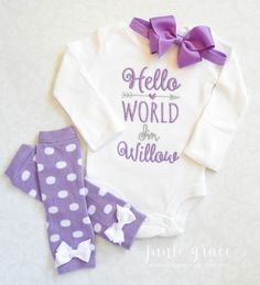 Baby Girl Clothes Baby Girl Coming Home Outfit Newborn Girl Outfit Hello World Newborn Outfit Baby Girl Outfit Gift Baby Girl Headband by juniegrace on Etsy